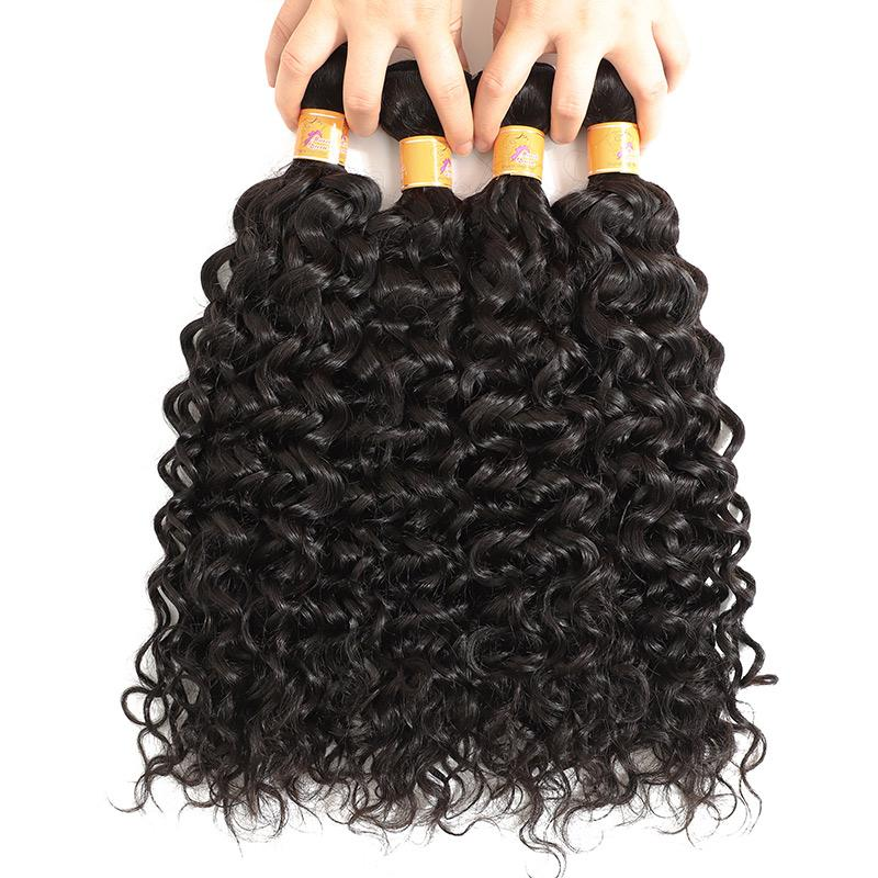 Indian Hair Weave Jerry Curl 4 Bundels With Lace Closure