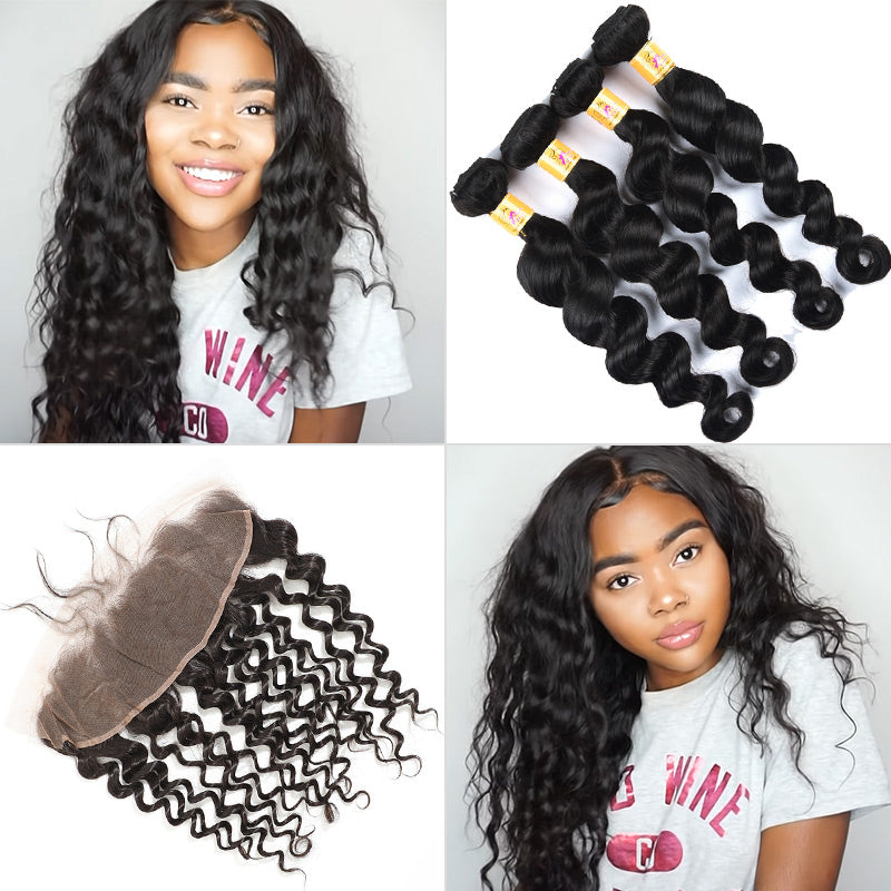 peruvian loose deep 4 bundles with frontal
