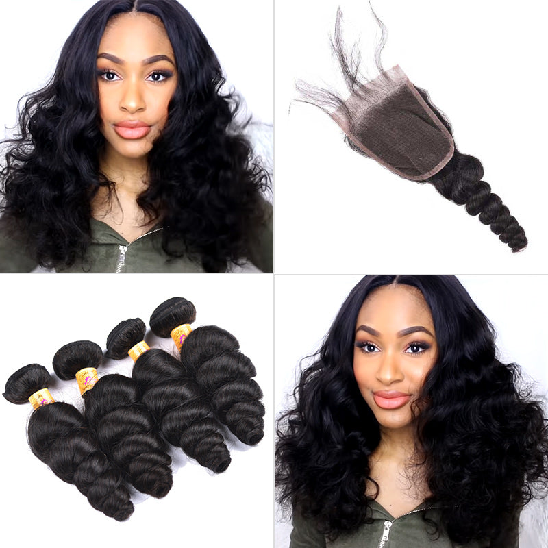 peruvian loose wave bundles with closure