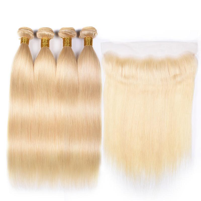 MarchQueen 613# Blonde Hair Color Straight Human Hair 4 Bundles With 13 By 4 inch Frontal Closure