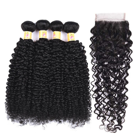 MarchQueen Peruvian Virgin Hair Curly Weave 4 Bundles With Closure 1b# For Sale