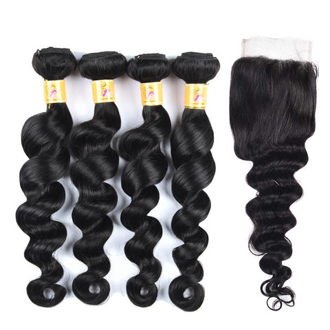 MarchQueen Peruvian Virgin Hair Loose Deep Wave 4 Bundles With Closure 1b#