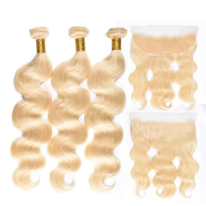 MarchQueen 613 Blonde Bundles With Frontal Body Wave 13x4 Lace Frontal Closure With 3 Bundles Virgin Hair