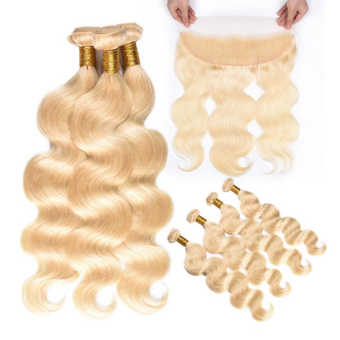 MarchQueen Platinum Blonde Hair 613# Body Wave Hair 4 Bundles With Ear To Ear Lace Frontal Closure