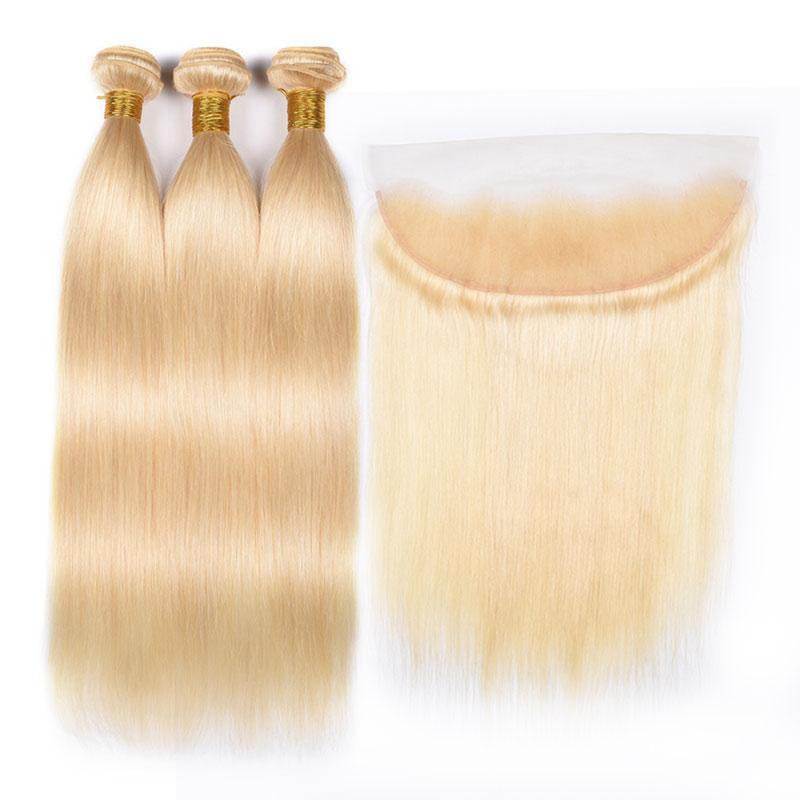 613 Brazilian Premium Blonde Straight Hair 3 Bundles With Frontal Closure With Baby Hair