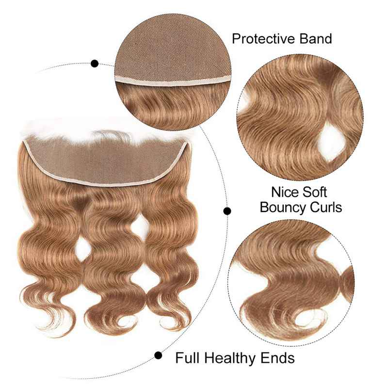 MarchQueen 27# Honey Blonde Human Hair Body Wave 3 Bundles With Pre Plucked 13x4 Lace Frontal