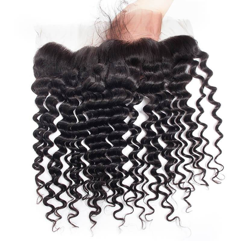 Best Human Hair Deep Wave Full Lace Frontal Closure 13x4 Free Part 1b#