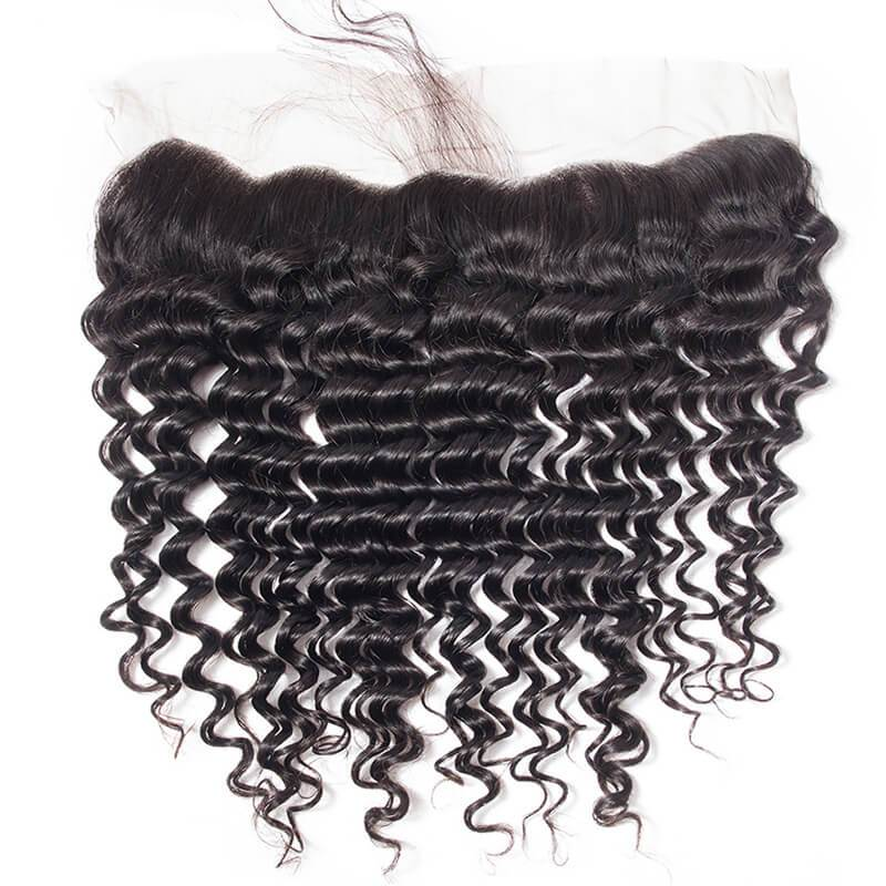 MarchQueen Online Human Hair Deep Wave Full Lace Frontal Closure 13x4 Swiss Lace 10-22inch 1b#