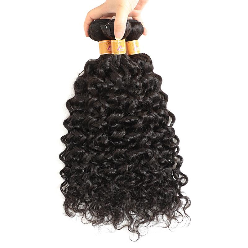 Brazilian Remy Jerry Curly 3 Bundles Human Hair Extensions 1b#