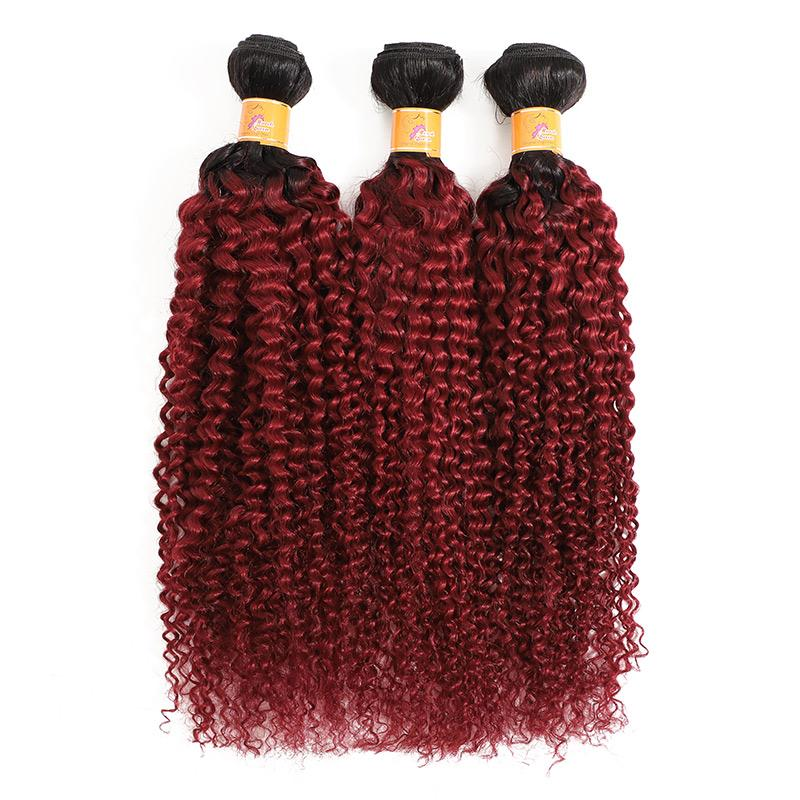 MarchQueen Curly Afro Hair Weave Virgin Remy Hair Ombre T1b Burgundy Curly Weave 3 Bundles Of Hair For Sale