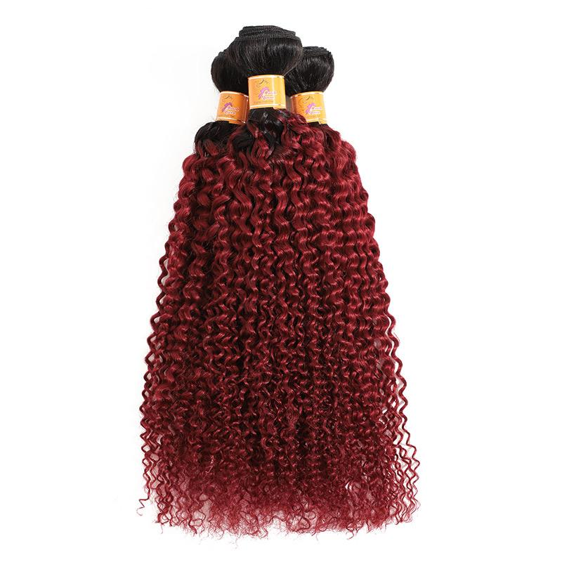 Unprocessed Curly Afro Hair Weave Virgin Remy Hair T1B Burgundy Curly Weave