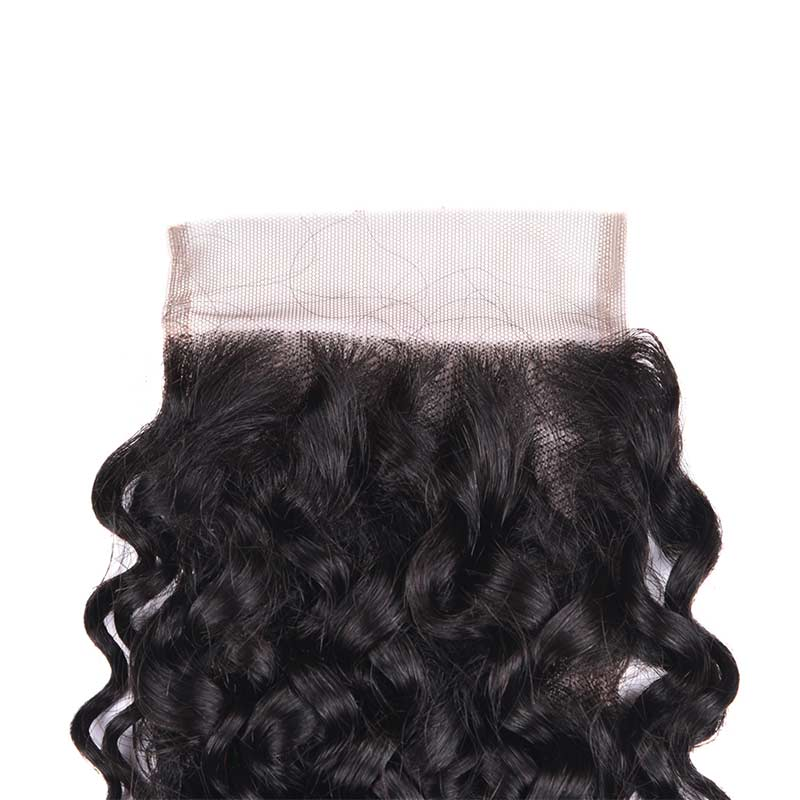Curly Human Hair Pieces 4X4 Lace Closure With Baby Hair 1b#