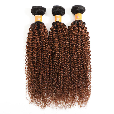 MarchQueen Curly Ombre Hair Brazilian Virgin Curly Human Hair Extensions 3 Bundles T1B/30 High Density On Sale