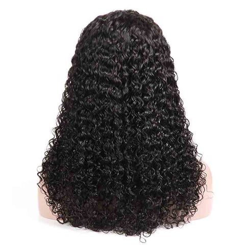 MarchQueen Curly Wave Lace Front Wigs Black Human Hair Bob Wigs High Density For Sale Natural Color 1b#