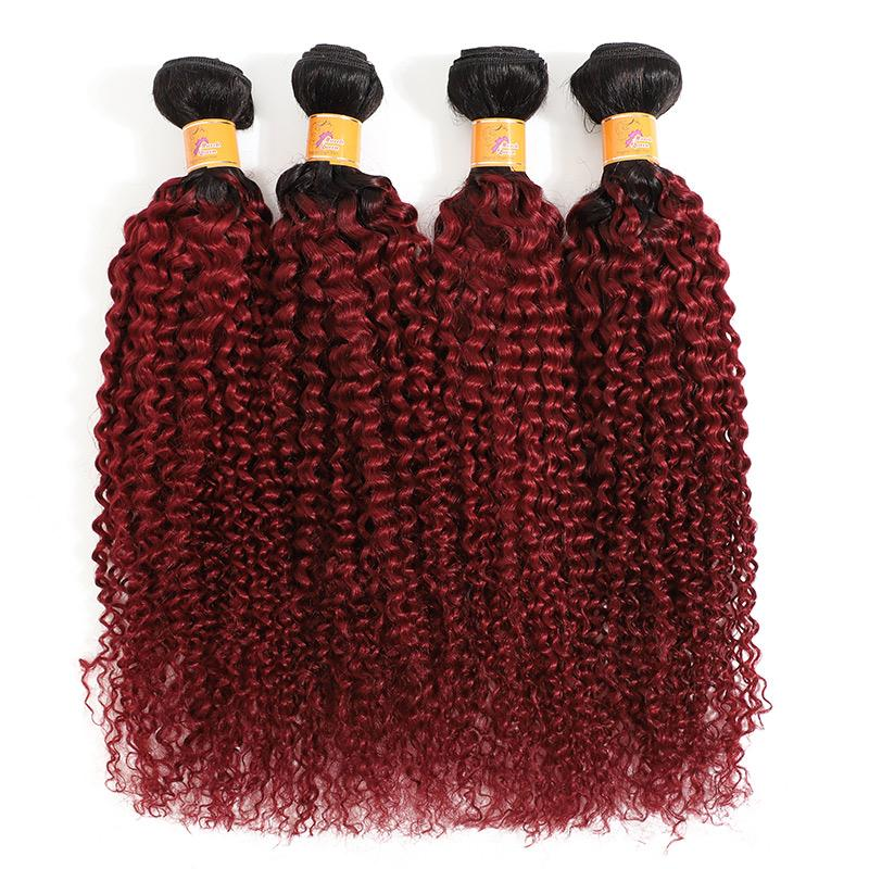 MarchQueen Long Curly Weave Virgin  Brazilian Weave Bundles Of Good Cheap Hair 4pcs 100% Human Hair T1b/bug