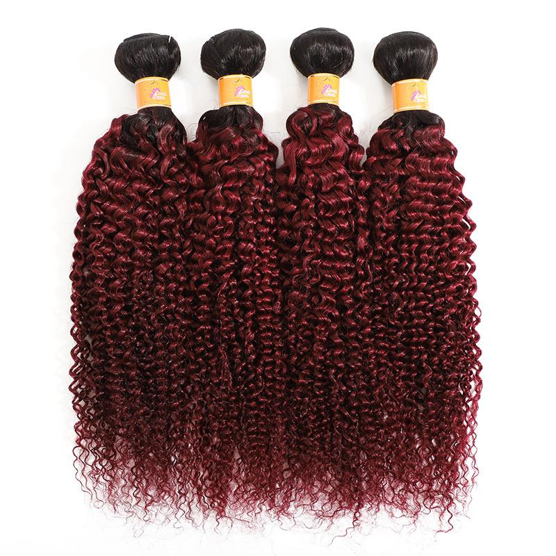 MarchQueen Virgin Brazilian Hair Cheap Curly Weave 4 Bundles T1b 99J Ombre Color 26 Inch Hair Extensions.