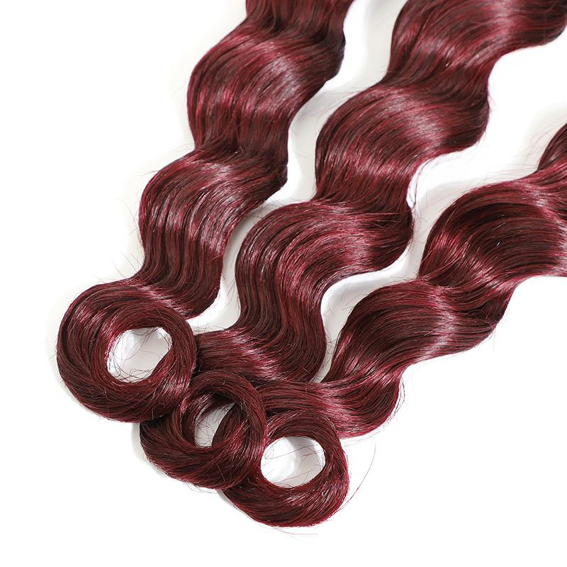 Peruvian Remy Hair Loose Deep Wave Real Human Hair 3 Bundles 1b/99j