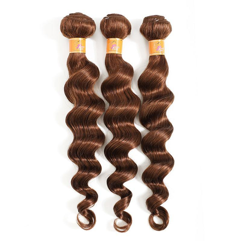 MarchQueen Loose Deep Wave Human Hair Weave goodRemy Hair 3 Bundles Beauty Supply Human Hair Good Price 4#