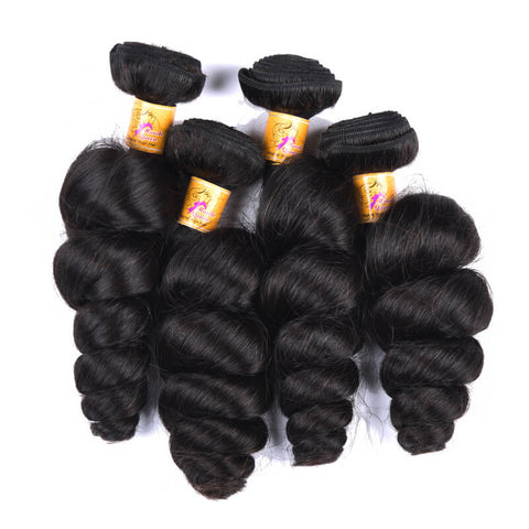 MarchQueen Malaysian Human Hair Loose Wave Hair 4 Bundles With Lace Closure 1b#