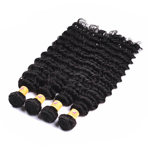 MarchQueen Malaysian Virgin Hair Deep Wave Hair 4 Bundles With 4x4 Closure 1b#