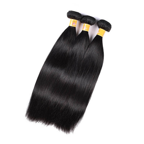 MarchQueen Malaysian Virgin Hair Straight Human Hair 3 Bundles With Closure 1b#