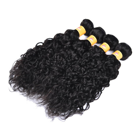 MarchQueen Malaysian Virgin Hair Water Wave Human Hair 4 Bundles With Closure 1b#