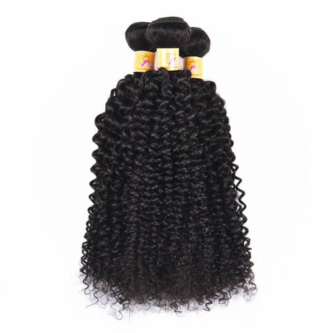 MarchQueen Virgin Human Malaysian Curly Hair Weave 3 Bundles With Closure 1b#