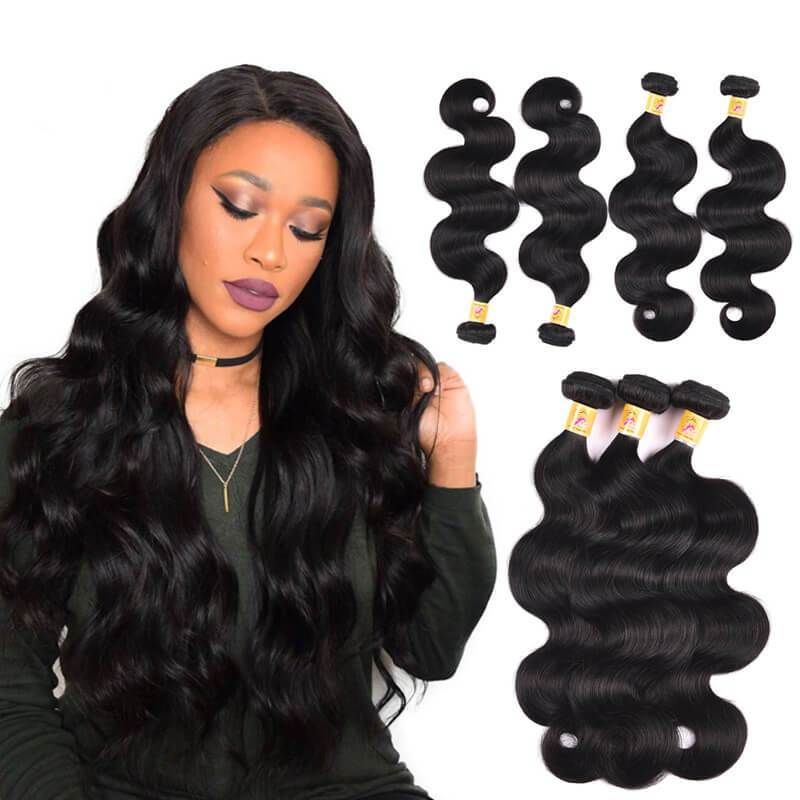 MarchQueen Malaysian Body Wave Natural Hair Weave 4 Bundles Deals 1b#