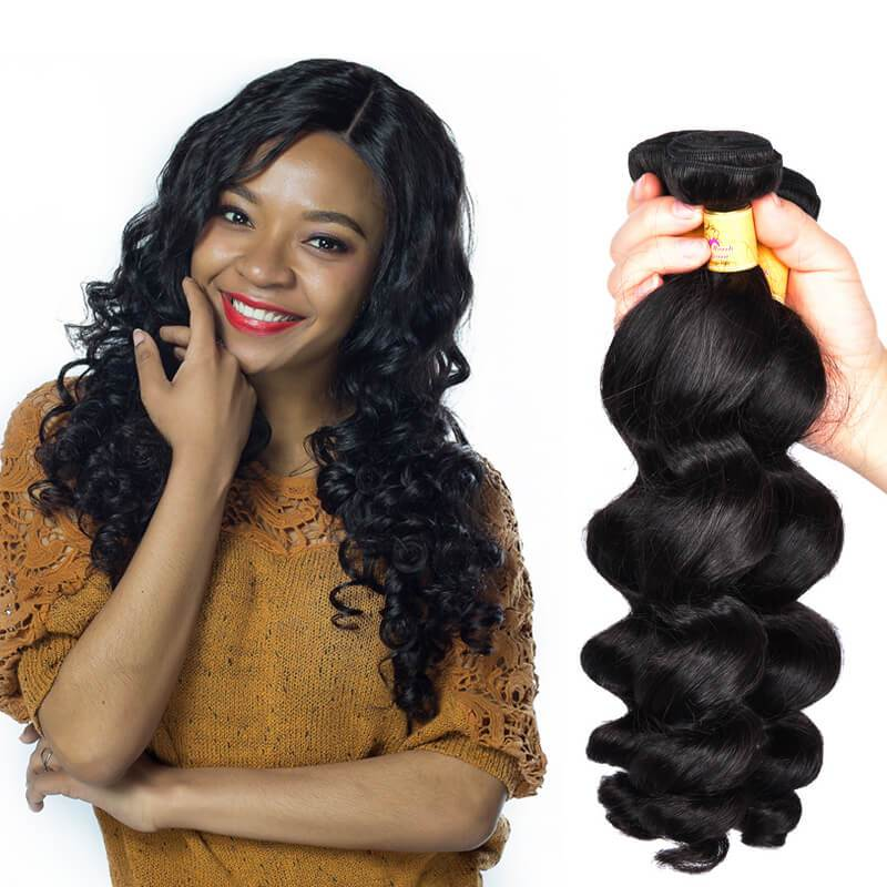 MarchQueen Malaysian Loose Wave Hair Bundles Virgin Hair Weave 3 Bundles Deal 1b#