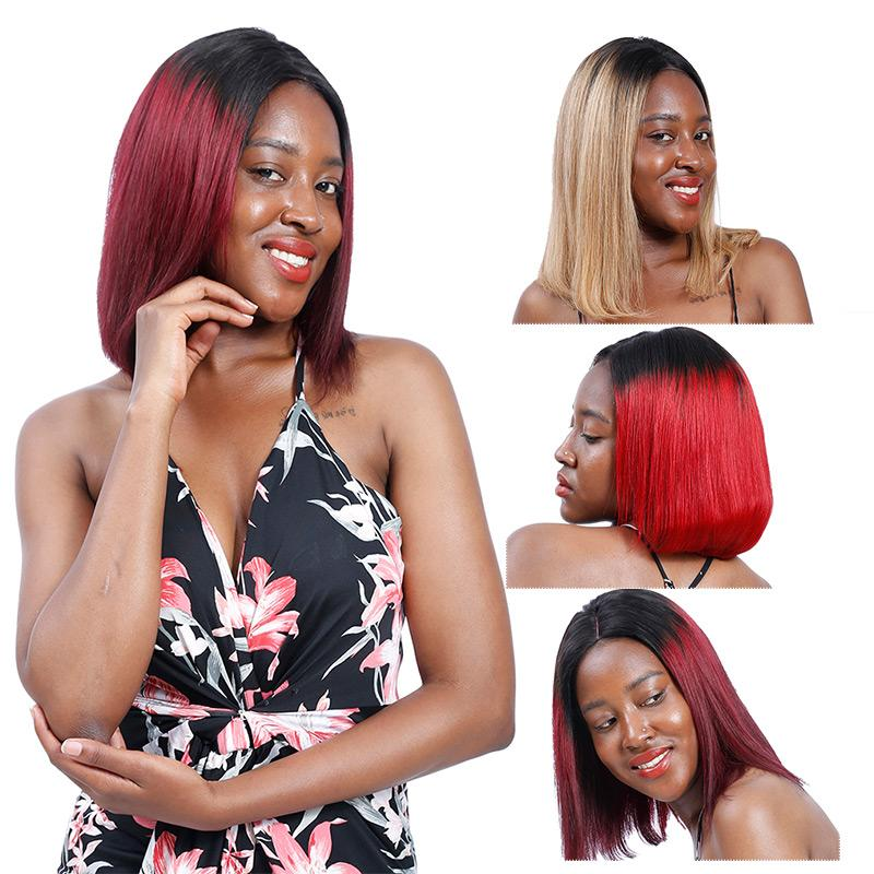 MarchQueen Ombre Bob Wigs For Black Women Lace Front Human Hair Wigs Pre Plucked with Natural Hairline