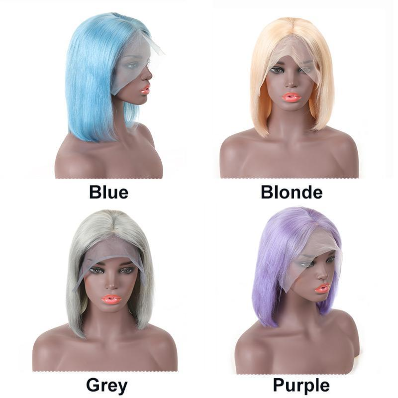 MarchQueen Bob Straight Wigs Human Hair Lace Front Blonde Blue Purple Grey Glueless
