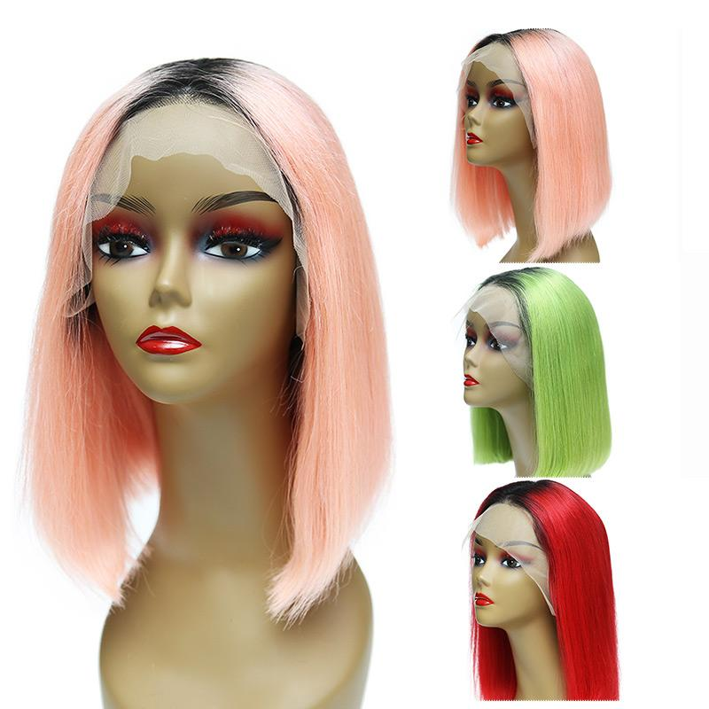 MarchQueen Ombre Colored Lace Front Human Hair Bob Wigs 10-16in Pre Plucked For Black Women 180% Density