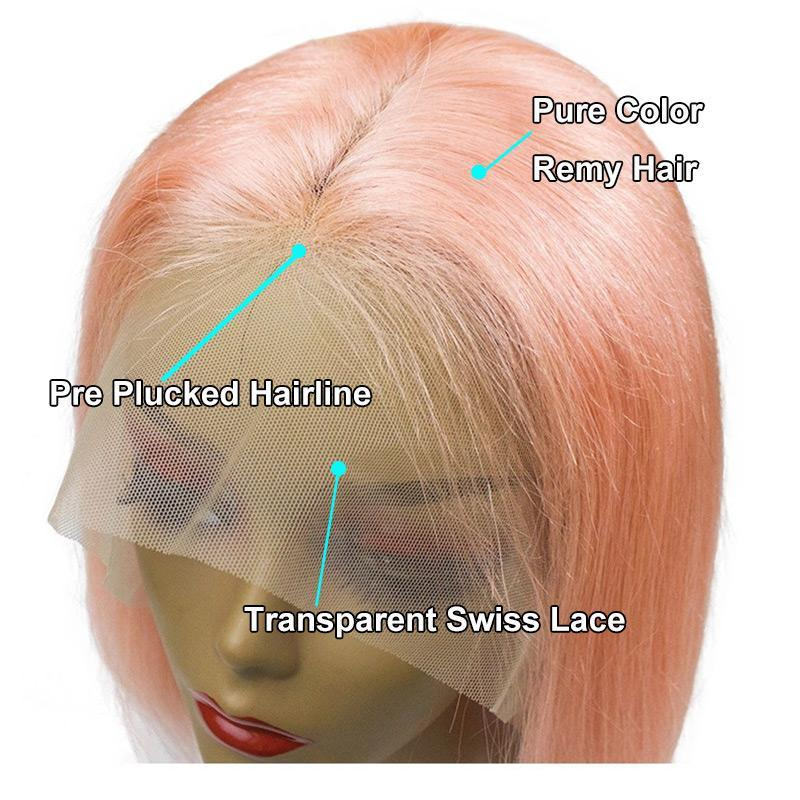 "Transparent Lace Front Colored Bob Wig 14"" Pre Plucked natural hairline"
