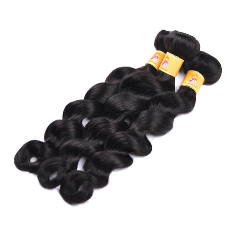 MarchQueen Peruvian Loose Deep Wave Virgin Hair 3 Bundles With 13x4 Lace Frontal