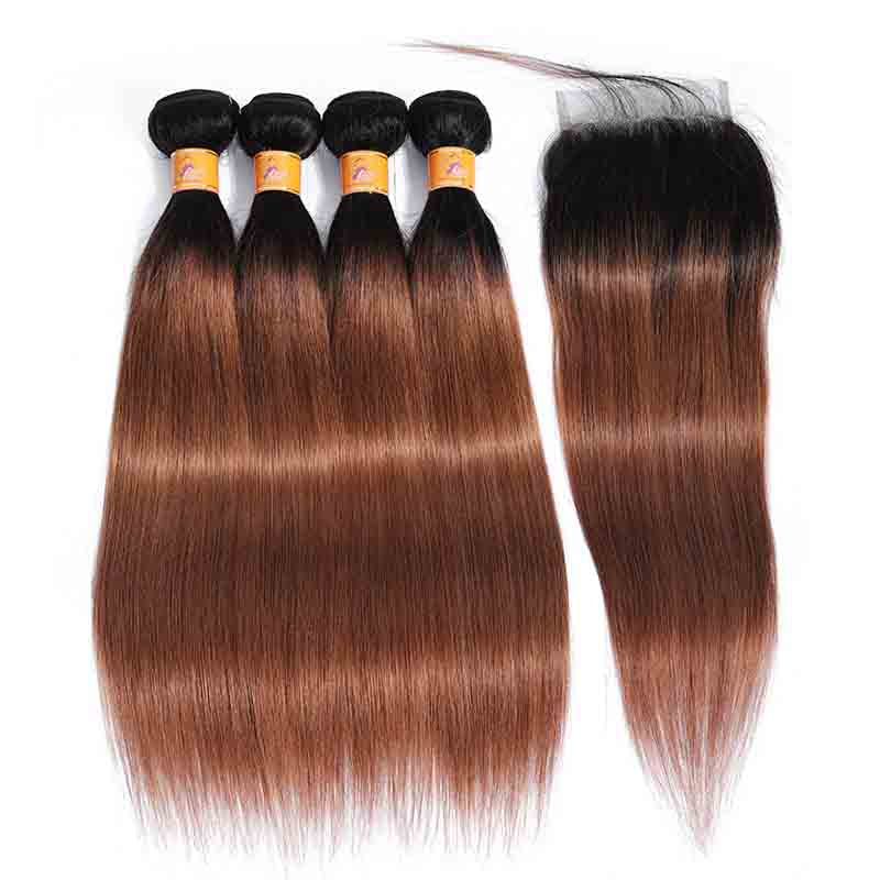 MarchQueen T1b 30 Ombre 4 Bundles With Closure Brown Brazilian Straight Human Hair Weave With Lace Closure