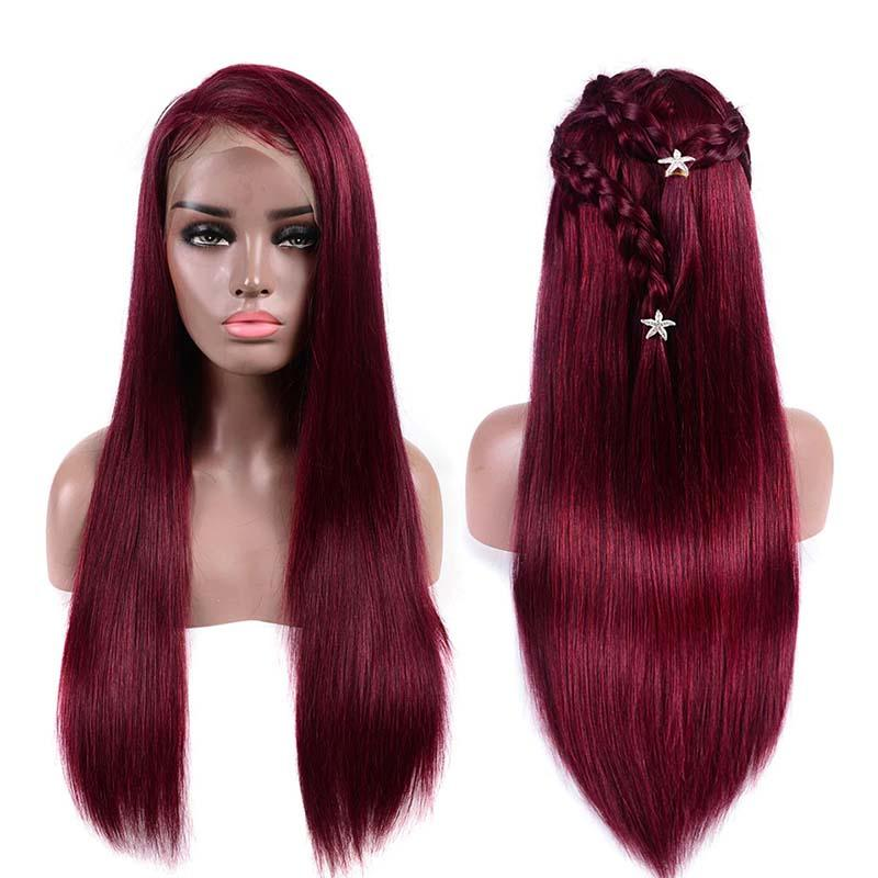 MarchQueen Burgundy 99j Colored Human Lace Front Wigs 180% Density Pre Plucked For Women