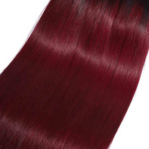 MarchQueen T1b/99j Cheap Brazilian Straight 4 Bundles With Closure Real Human Hair Weave Dyed Red