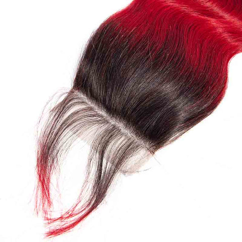 Marchqueen T1b/Bug 4 Bundles Of Brazilian Ombre Hair Weave Red Bundles With Closure