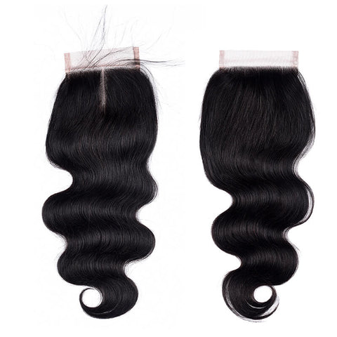 MarchQueen Peruvian Remy Hair Body Wave 4 Bundles With Lace Closure Natural Color 1b#
