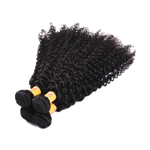 MarchQueen 4pcs Jerry Curly Hair Weft With Lace Frontal Closure