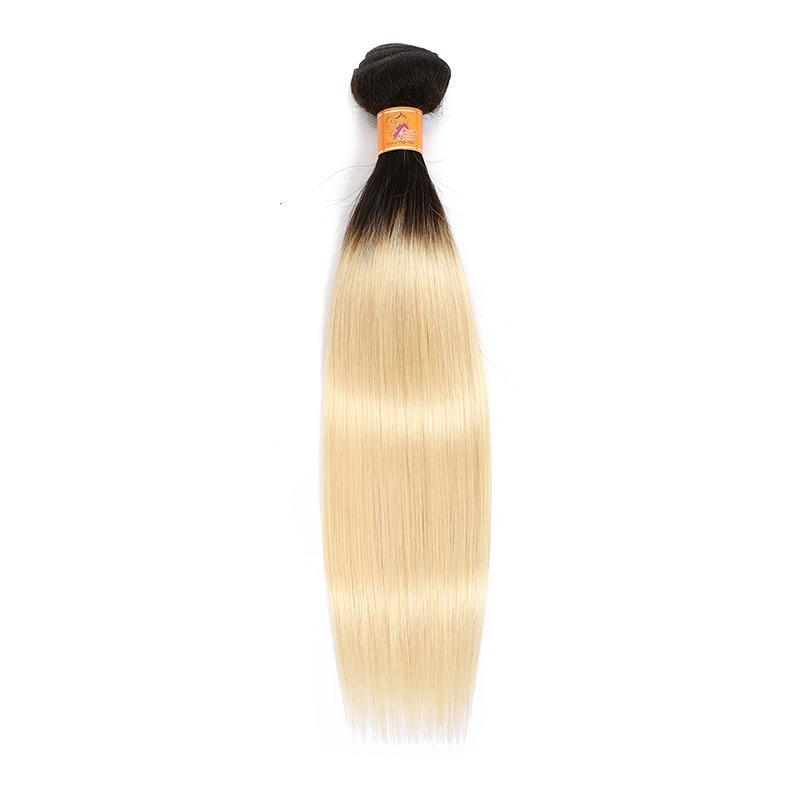 Peruvian Straight Human Hair 4 Bundles T1b/613 Hair Extension