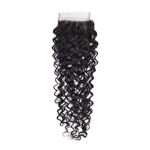 MarchQueen Peruvian Virgin Hair Curly Hair Extensions 3 Bundles With Closure 1b#