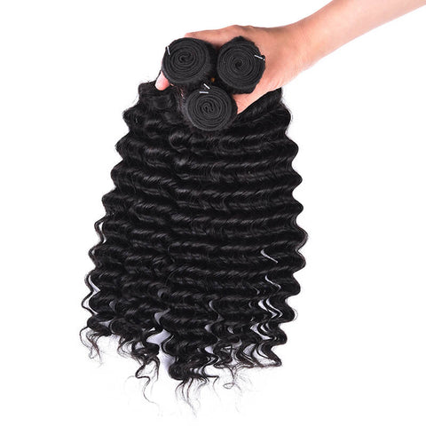 MarchQueen Peruvian Virgin Hair Deep Wave Hair 3 Bundles With Closure 1b#