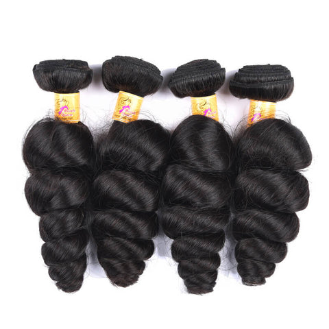 Marchqueen Peruvian Virgin Hair Loose Wave Human Hair 4 Bundles With Closure 1b#