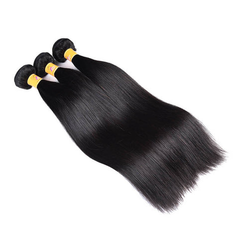 MarchQueen Peruvian Virgin Hair Straight Weave 3 Bundles With Lace Frontal 1b#