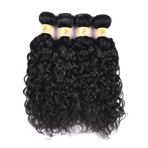 MarchQueen Lace Frontal Closure With Bundles 4pcs Peruvian Water Wave Weave With Frontal