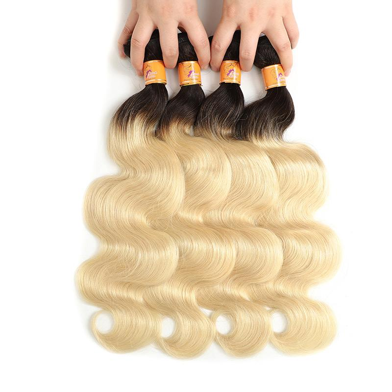 Remy Human Hair Weave Ombre Blonde Color Brazilin Body Wave 4 Bundles