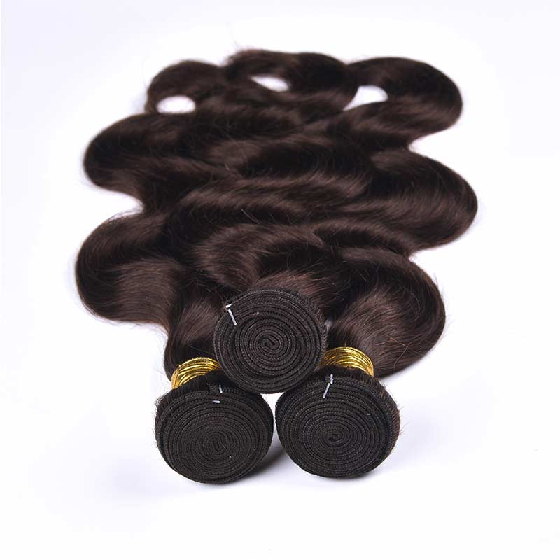 Body Wave Color 2# Dark Brow 3 Bundles For Sew In