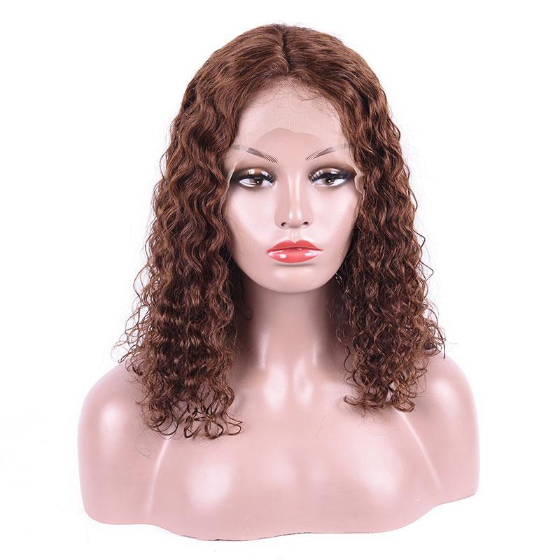 MarchQueen 4# Brown Colored Human Hair Wigs Bob Water Wave Lace Front Wigs With Undetectable Swiss Lace