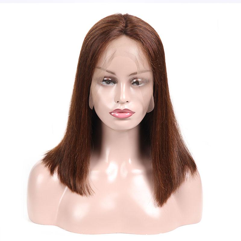 MarchQueen Straight Human Hair Color 4# Brown Wig Lace Front Short Bob Wig For Women High Density 150%